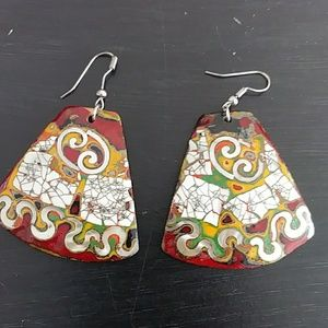 Bohemiam hand painted earrings